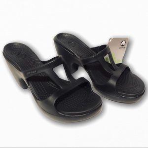 Crocs Cyprus II 2 block heel black sandals